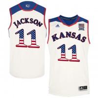 Kansas Jayhawks #11 Josh Jackson White USA Flag College Basketball Jersey