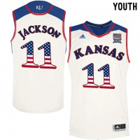 Kansas Jayhawks #11 Josh Jackson White Youth USA Flag College Basketball Jersey