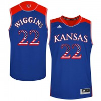 Kansas Jayhawks #22 Andrew Wiggins Blue USA Flag College Basketball Jersey