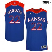 Kansas Jayhawks #22 Andrew Wiggins Blue USA Flag Youth College Basketball Jersey