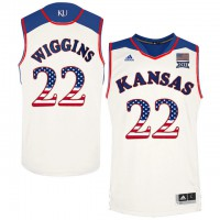 Kansas Jayhawks #22 Andrew Wiggins White USA Flag College Basketball Jersey