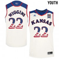Kansas Jayhawks #22 Andrew Wiggins White USA Flag Youth College Basketball Jersey