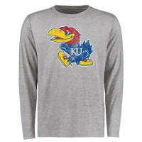 Kansas Jayhawks Big & Tall Classic Primary Long Sleeves T-Shirt Ash