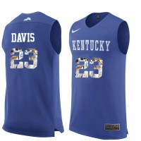 Kentucky Wildcats #23 Anthony Davis Royal Blue With Portrait Print College Basketball Jersey
