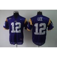 LSU Tigers #12 Jarrett Lee Purple Stitched NCAA Jersey
