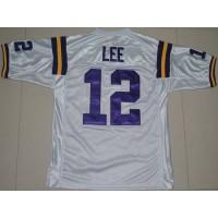 LSU Tigers #12 Jarrett Lee White Stitched NCAA Jersey