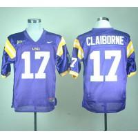 LSU Tigers #17 Morris Claiborne Purple Stitched NCAA Jersey