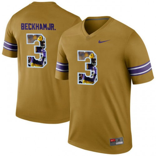 acf9a10879e637 LSU Tigers #3 Odell Beckham Jr. Gold With Portrait Print College Jersey