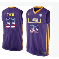 LSU Tigers #33 Shaquille O'Neal Purple USA Flag College Basketball Jersey