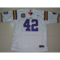LSU Tigers #42 Michael Ford White 2012 BCS Championship Patch Stitched NCAA Jersey