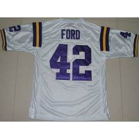 LSU Tigers #42 Michael Ford White Stitched NCAA Jersey