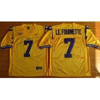 LSU Tigers #7 Leonard Fournette Gold Stitched NCAA Jersey
