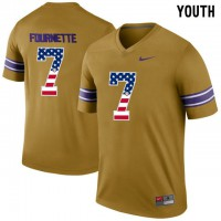 LSU Tigers #7 Leonard Fournette Gold USA Flag Youth College Football Throwback Limited Jersey