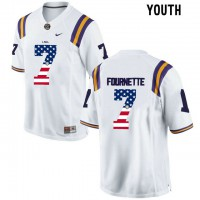 LSU Tigers #7 Leonard Fournette White USA Flag Youth College Football Limited Jersey