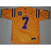 LSU Tigers #7 Tyrann Mathieu Gold 2012 BCS Championship Patch Stitched NCAA Jersey