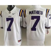 LSU Tigers #7 Tyrann Mathieu White Stitched NCAA Jersey