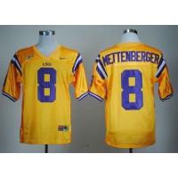 LSU Tigers #8 Zach Mettenberger Gold Stitched NCAA Jersey