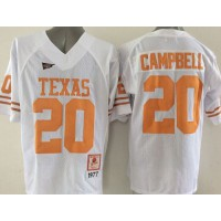 Longhorns #20 Earl Campbell White Stitched NCAA Jersey