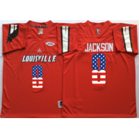 Louisville Cardinals #8 Lamar Jackson Red USA Flag College Jersey