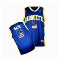 Marquette Golden Eagles #3 Dwyane Wade Navy USA Flag College Basketball Jersey