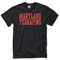 Maryland Terrapins Stacked Text Neon T-Shirt Black