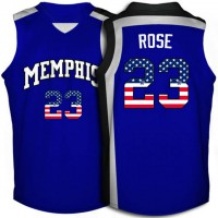 Memphis Tigers #23 Derrick Rose Blue USA Flag Throwback College Basketball Jersey