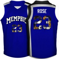 Memphis Tigers #23 Derrick Rose Royal Blue With Portrait Print College Basketball Jersey