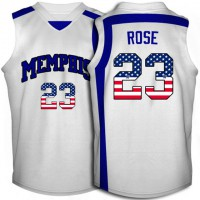 Memphis Tigers #23 Derrick Rose White USA Flag Throwback College Basketball Jersey