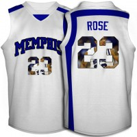 Memphis Tigers #23 Derrick Rose White With Portrait Print College Basketball Jersey