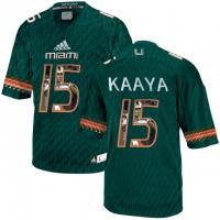 Miami Hurricanes #15 Brad Kaaya Green With Portrait Print College Football Jersey