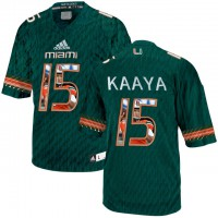 Miami Hurricanes #15 Brad Kaaya Green With Portrait Print College Football Jersey2