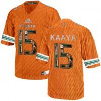 Miami Hurricanes #15 Brad Kaaya Orange With Portrait Print College Football Jersey