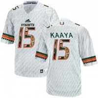 Miami Hurricanes #15 Brad Kaaya White With Portrait Print College Football Jersey