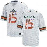 Miami Hurricanes #15 Brad Kaaya White With Portrait Print College Football Jersey2