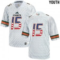 Miami Hurricanes #15 White USA Flag Youth College Football Jersey