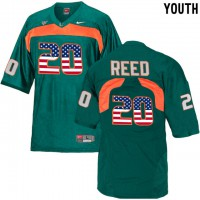 Miami Hurricanes #20 Ed Reed Green USA Flag Youth College Football Jersey