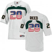 Miami Hurricanes #20 Ed Reed White USA Flag College Football Jersey