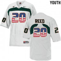 Miami Hurricanes #20 Ed Reed White USA Flag Youth College Football Jersey