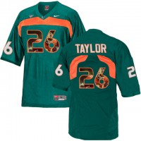 Miami Hurricanes #26 Sean Taylor Green With Portrait Print College Football Jersey2
