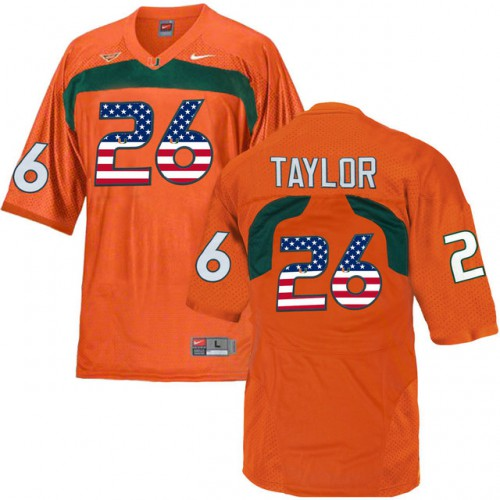 cadfc80b5 ... best price miami hurricanes 26 sean taylor orange usa flag college  football jersey a036c 4325b