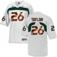 Miami Hurricanes #26 Sean Taylor White With Portrait Print College Football Jersey