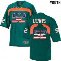 Miami Hurricanes #52 Ray Lewis Green USA Flag Youth College Football Jersey