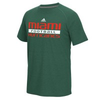 Miami Hurricanes Adidas Sideline Practice Football Ultimate Short Sleeve Climalite T-Shirt Green