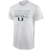 Miami Hurricanes Frame Football T-Shirt White