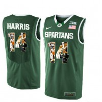 Michigan State Spartans #14 Garry Harris Green With Portrait Print College Basketball Football Jersey