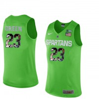 Michigan State Spartans #23 Draymond Green Apple Green With Portrait Print College Basketball Football Jersey