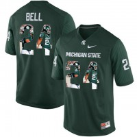 Michigan State Spartans #24 Le'Veon Bell Green With Portrait Print College Football Jersey
