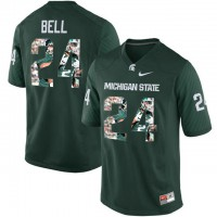 Michigan State Spartans #24 Le'Veon Bell Green With Portrait Print College Football Jersey2