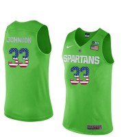 Michigan State Spartans #33 Magic Johnson Apple Green College Basketball Jersey