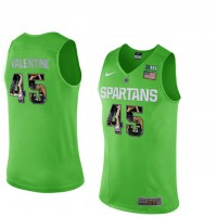 Michigan State Spartans #45 Denzel Valentine Apple Green With Portrait Print College Basketball Football Jersey